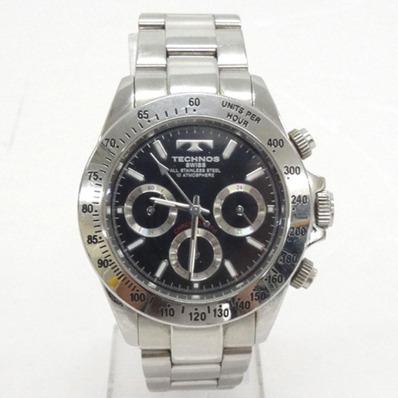 TECHNOS テクノ 時計/品番:TGM615/カラー:シルバー/クロノグラフ/黒文字盤/10気圧防水/電池《腕時計/ウォッチ》アクセサリー\時計\メンズ時計