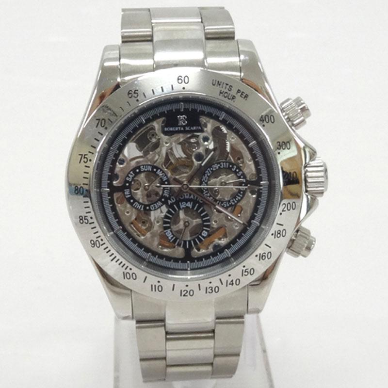 ROBERTA SCARDA ロベルタスカルパ 時計/品番:RS-6014/カラー:シルバー/オートマチック/銀黒/自動巻き《腕時計/ウォッチ》アクセサリー\時計\メンズ時計