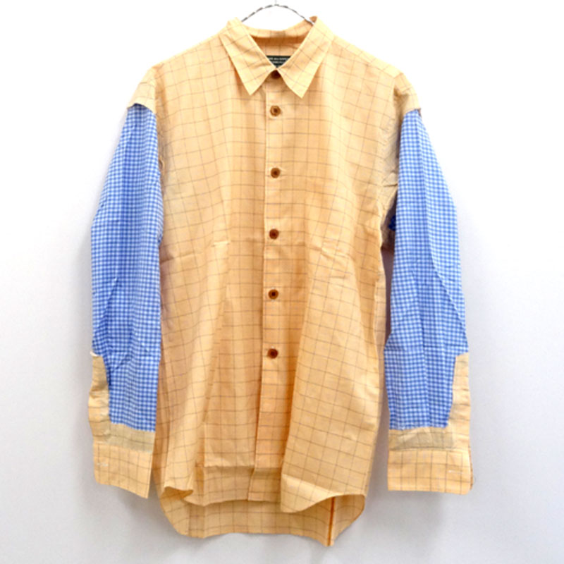 COMME des GARCONS HOMME PLUS EVER GREEN AD2007切り替え シャツ サイズ:SS/オレンジ×ブルー 系/ドメス【山城店】