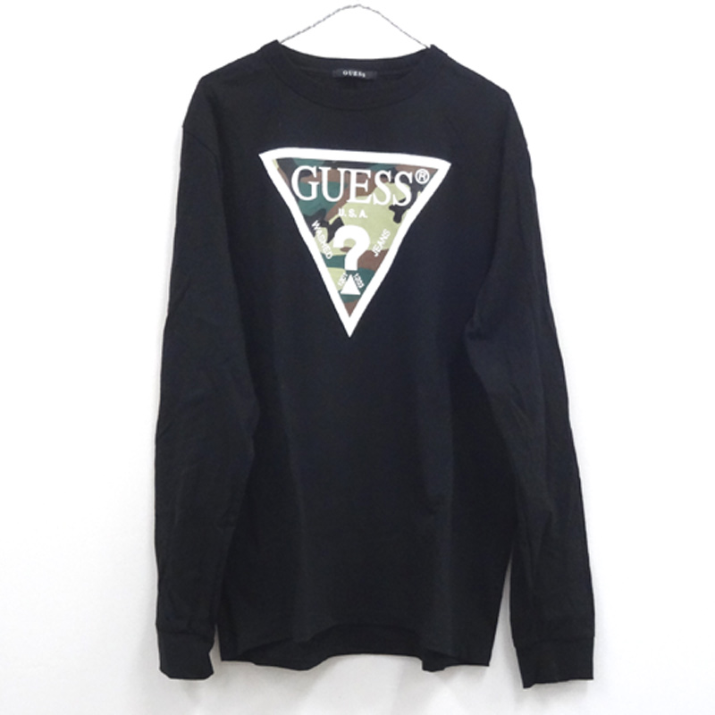 SOPH × GUESS 17AW ソフネット×ゲス camoflage TRIANGLE CREW NECK L/S Tee/L/BLACK/長袖Tシャツ/コラボ/ストリート【山城店】