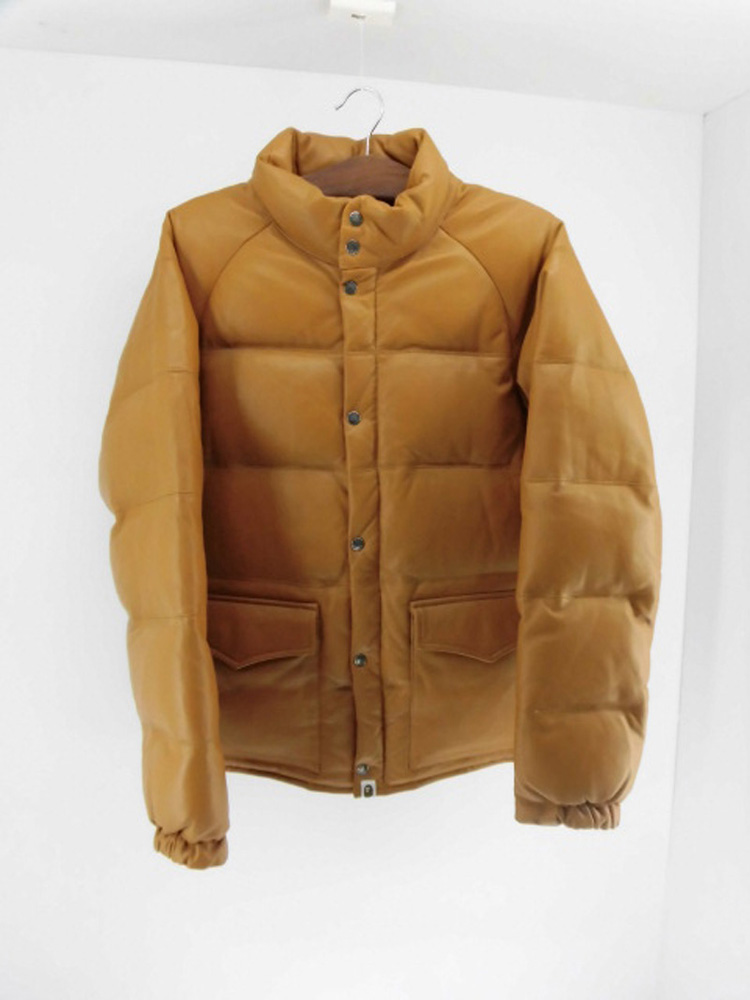 A BATHING APE ア ベイシング エイプ /Leather Classic Down Jacket レザー クラシック ダウンジャケット/ SIZE L 【山城店】