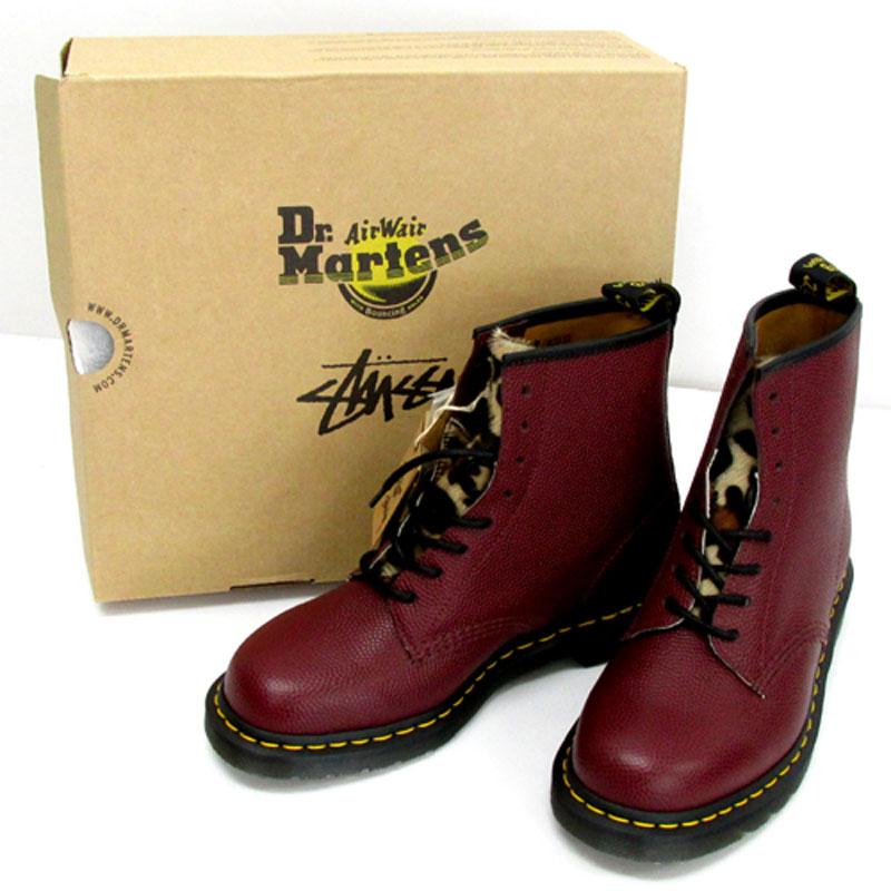 STUSSY × DrMartens ステューシー×ドクターマーチン 1460 8EYELET BOOT/US9/ブラウン×レオパード/靴 シューズ/スニーカー古着\メンズ\ブーツ\27.0