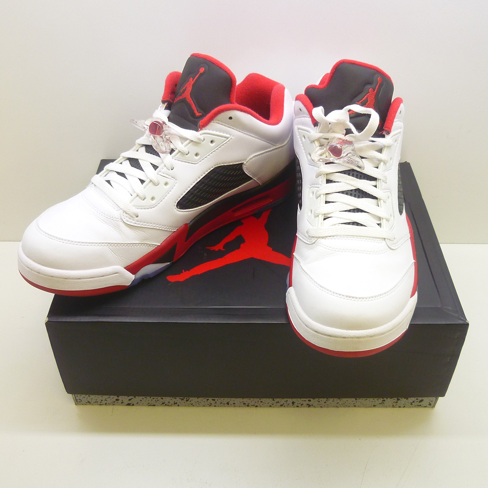 NIKE ナイキ AIR JORDAN 5 retoro low White/Fire red-black 29.5cm【橿原店】