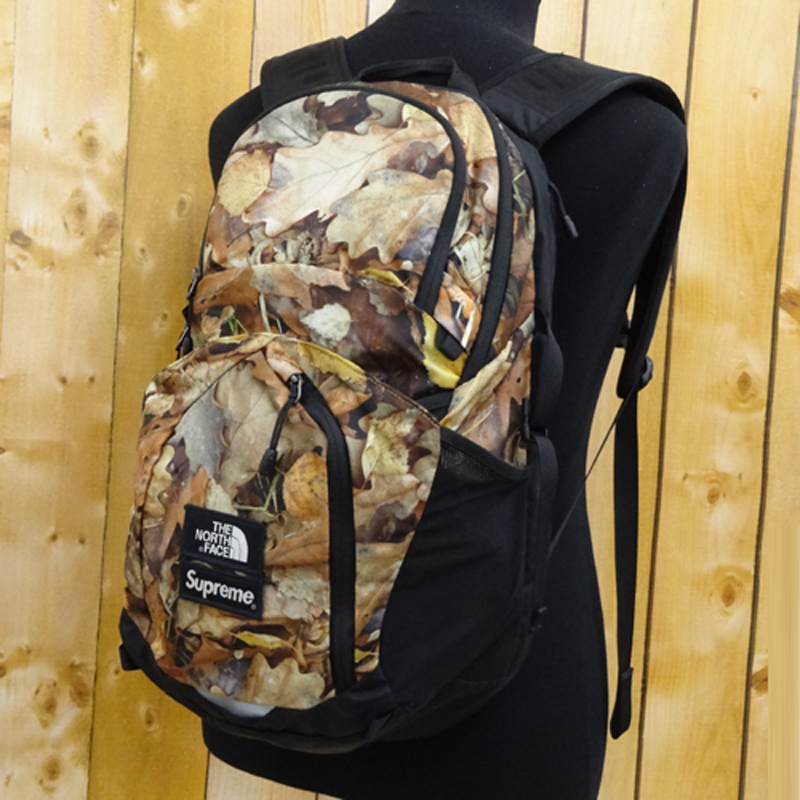 Supreme THE NORTH FACE BackPack/バックパック ポコノ/コラボ/16AW/リーフカモ柄/カラー:黒×ブラウン 系《バッグ/かばん/鞄》【山城店】