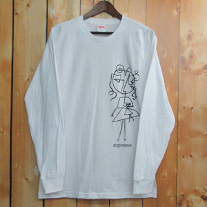 Supreme Sketch L/S Tee シュプリーム スケッチ長袖Tシャツ 16AW White/ホワイト/白 半タグ付  【アメ村店】